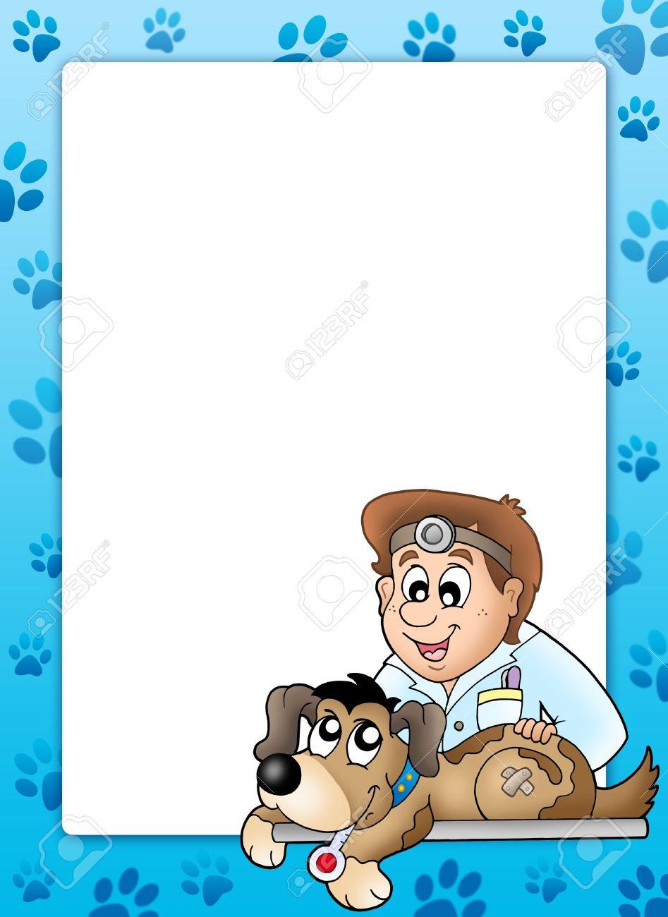 Marco Con El Perro En El Veterinario - Ilustración De Color. Fotos ...