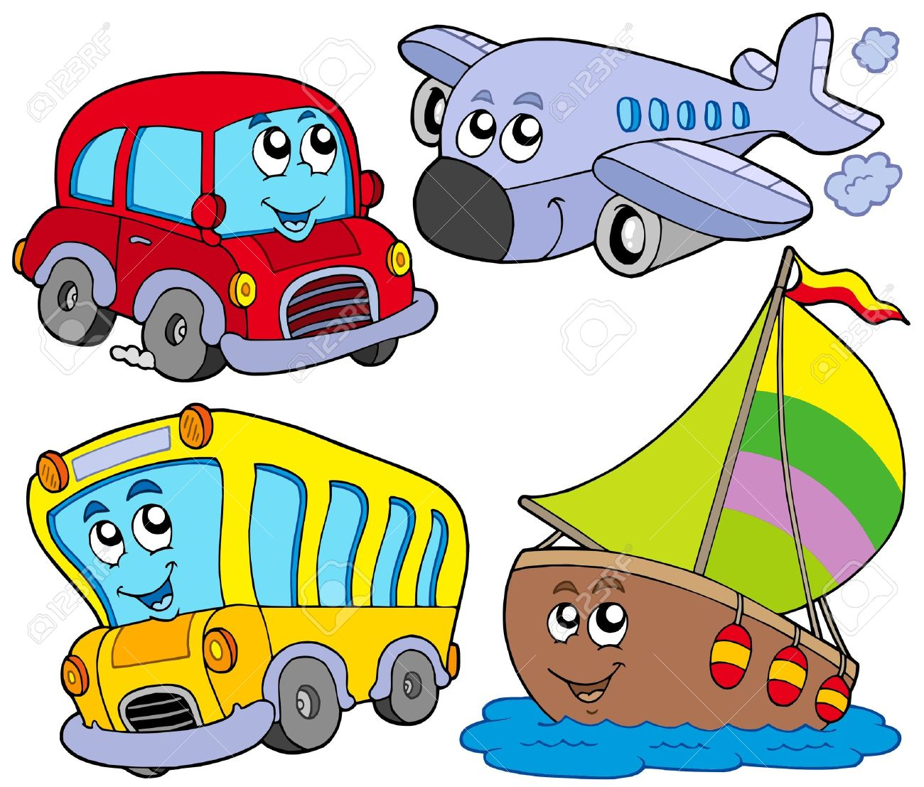 various cartoon vehicles vector illustration royalty free rh 123rf com vehicle clipart free vehicle clipart black and white