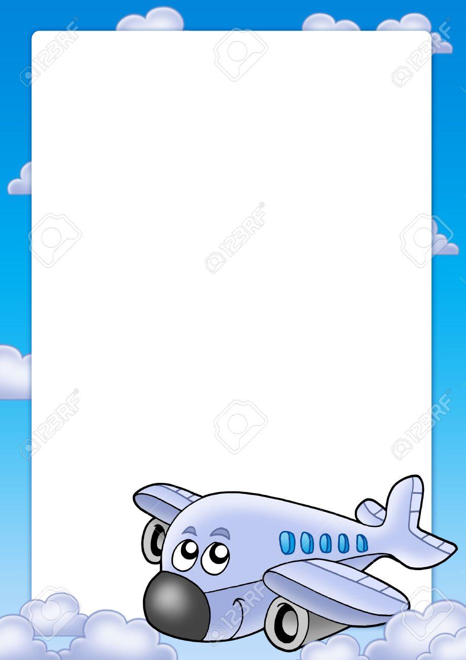 Marco Con Avión Cute Y Nubes - Ilustración De Color. Fotos, Retratos ...
