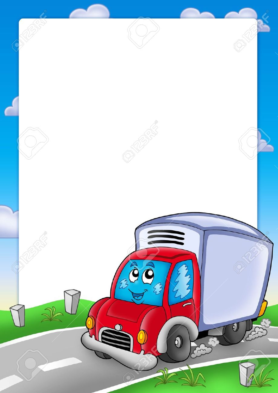Frame With Cute Delivery Car - Color Illustration. Stock Photo ...