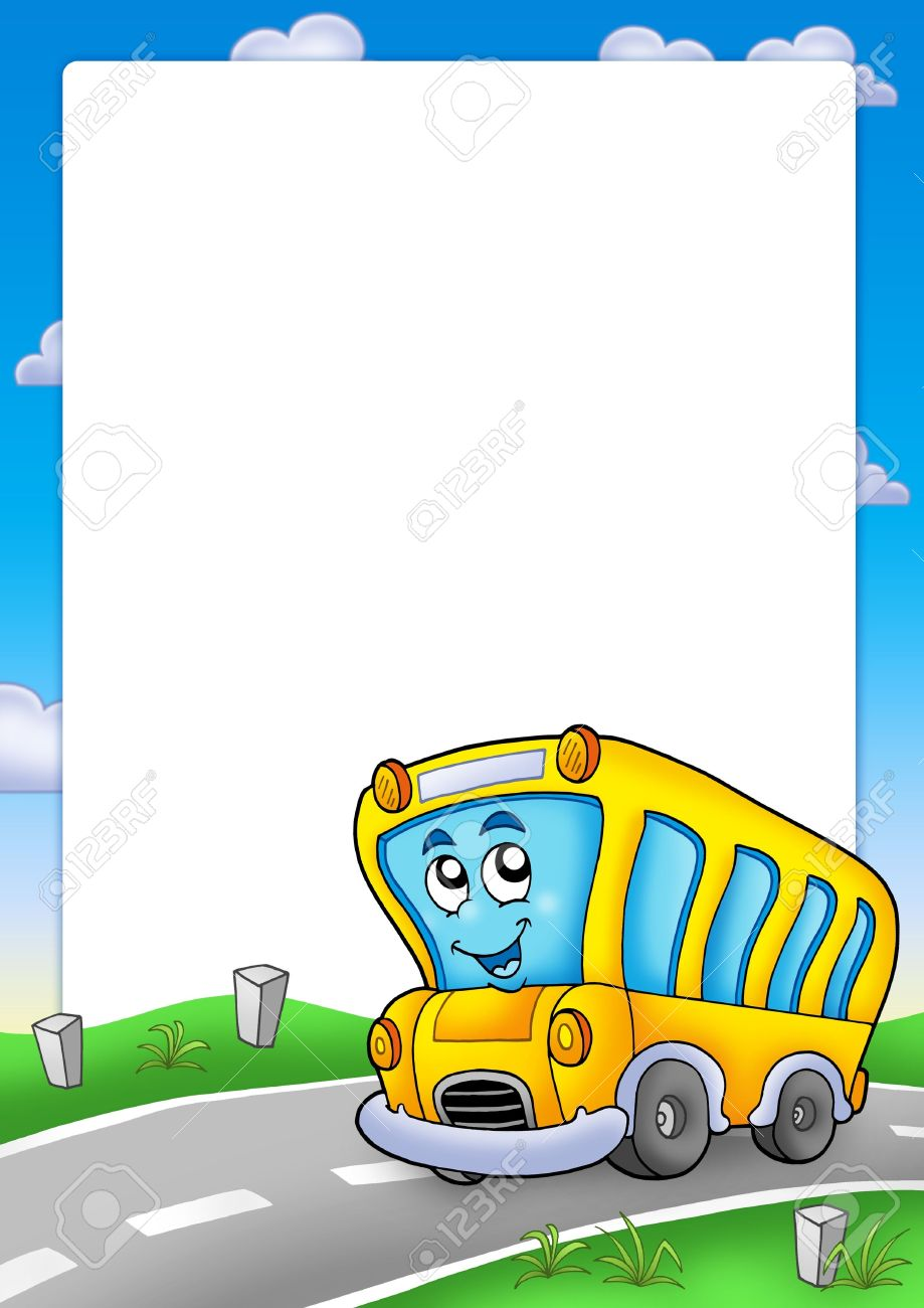 Frame With Yellow School Bus Color Illustration Stock Photo
