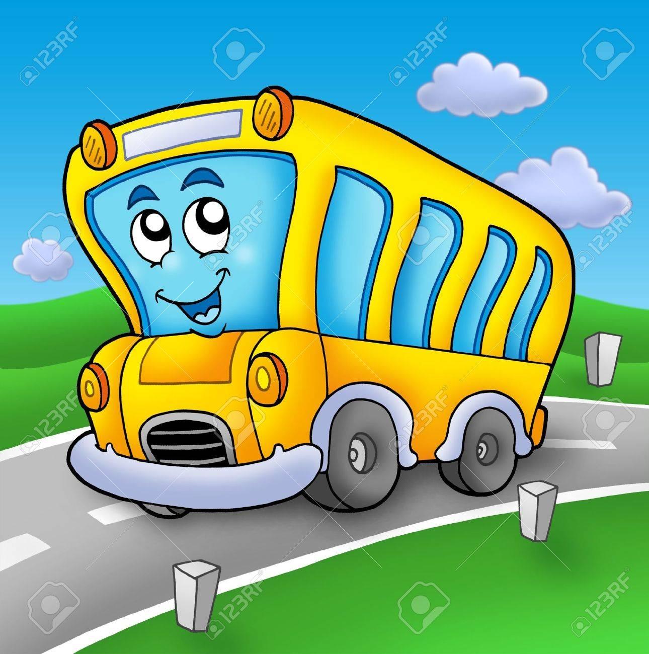 Yellow school bus on road - color illustration. Stock Illustration - 6232290