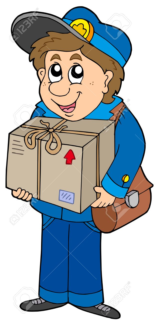 Clip Art Mailman Clipart mailman delivering box vector illustration royalty free stock 6240702