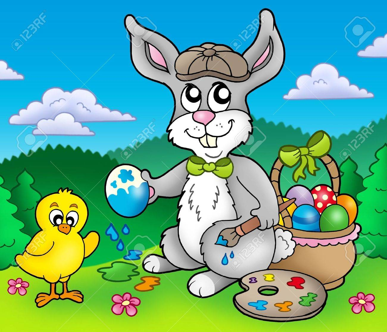 Easter bunny artist and chicken - color illustration. Stock Photo - 6335474