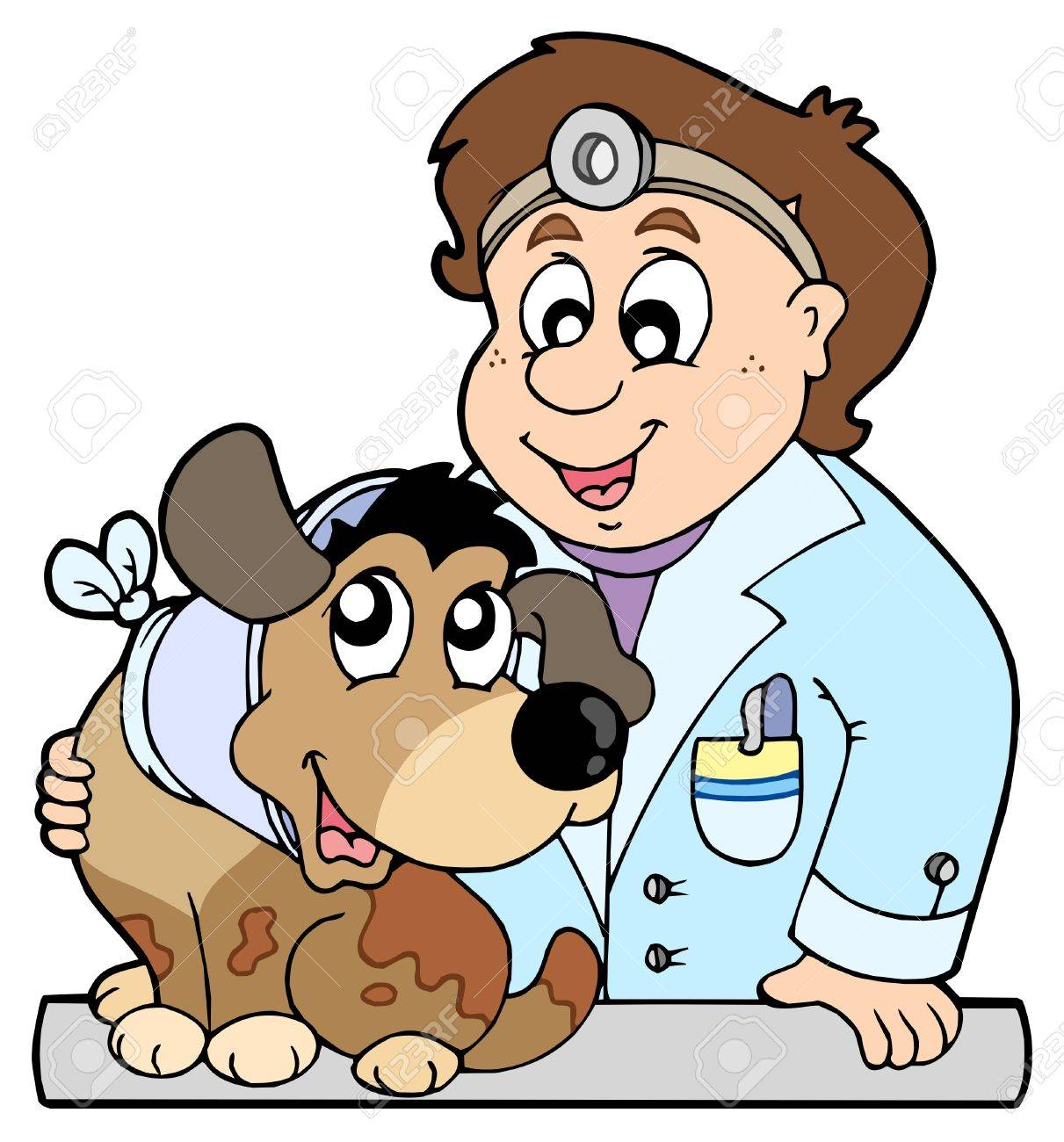 Dog with collar at veterinarian Stock Vector - 6335499