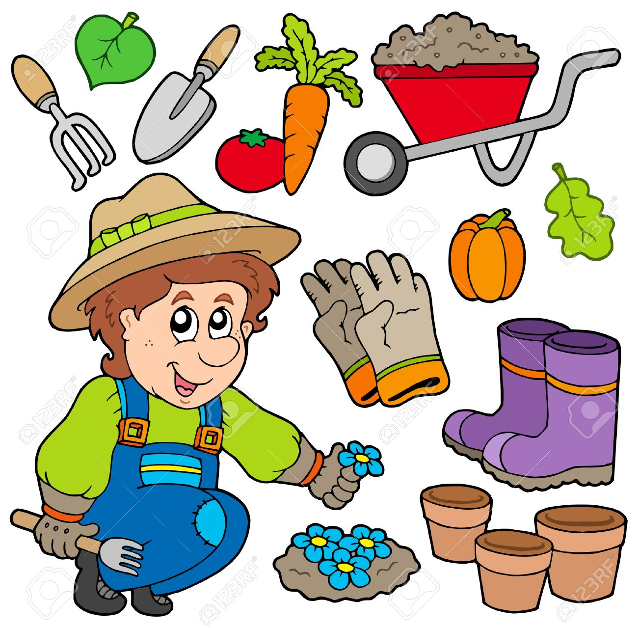 Gardener with various objects Stock Vector - 6335523
