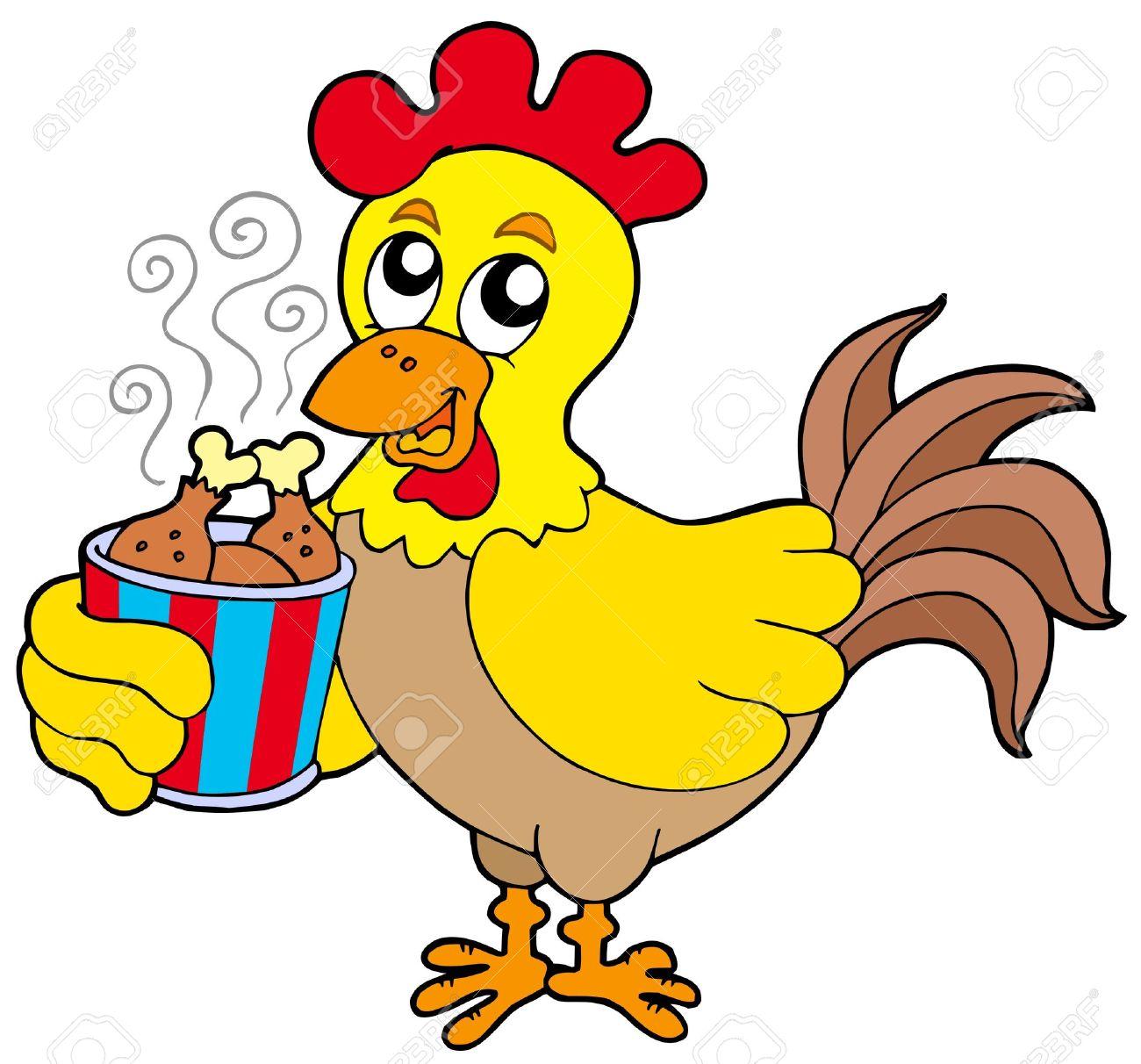 Cartoon chicken with meal box - vector illustration. Stock Vector - 6370095