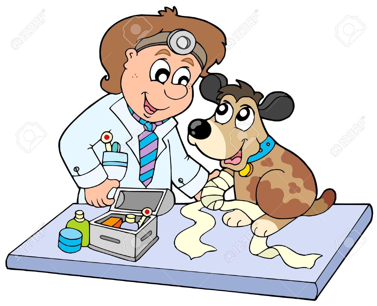 Perro Con Pata Enfermo Al Veterinario - Ilustración Vectorial ...