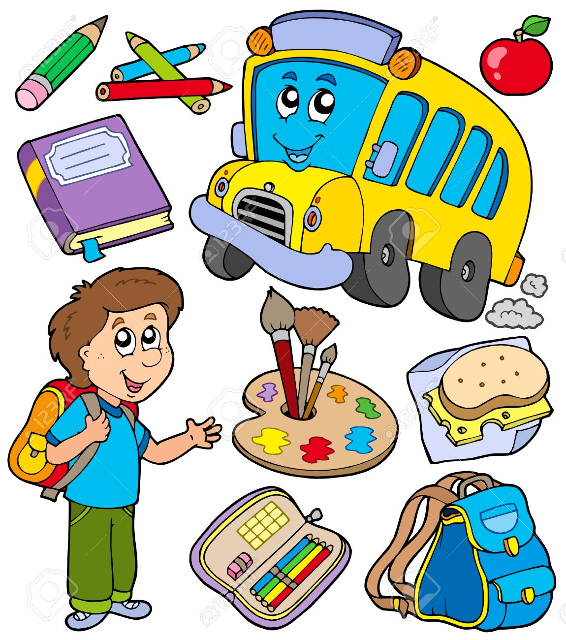 School objects collection - vector illustration. Stock Vector - 6370104