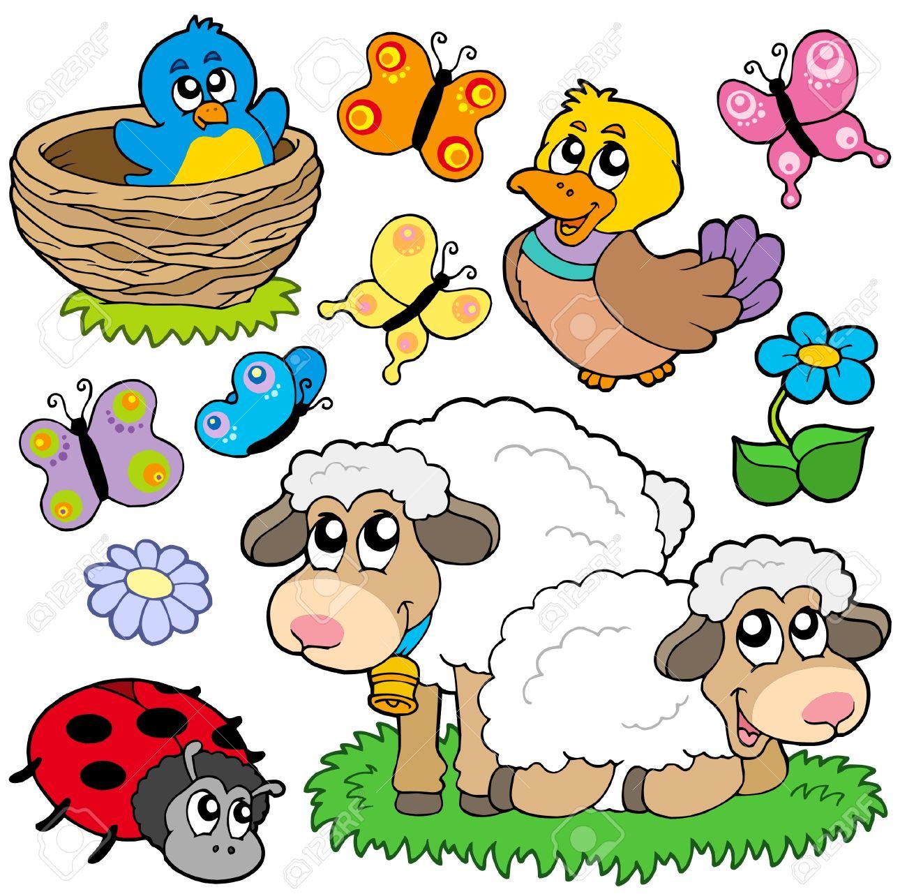 Various spring animals - vector illustration. Stock Vector - 6370102