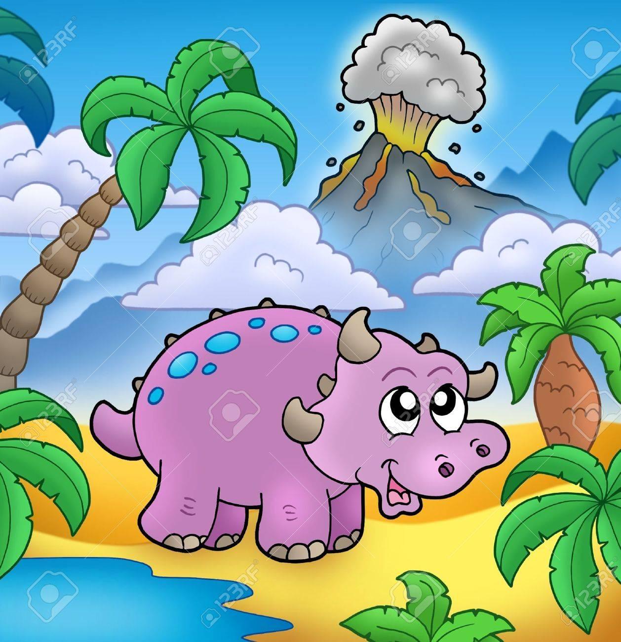 Dinosaurio De Dibujos Animados Con El Volcán - Ilustración De Color ...