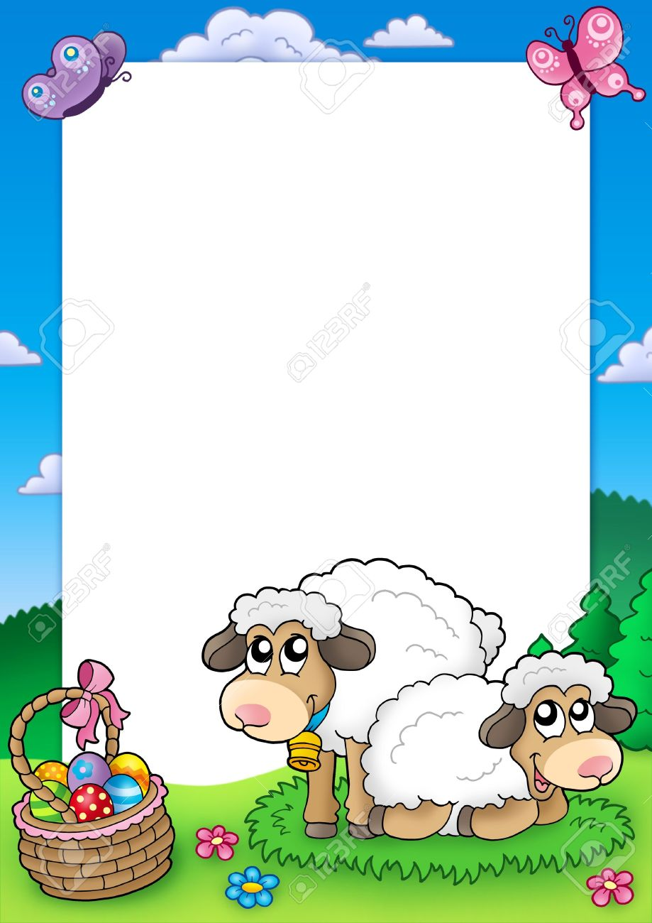 Easter frame with cute sheep - color illustration. Stock Photo - 6370071