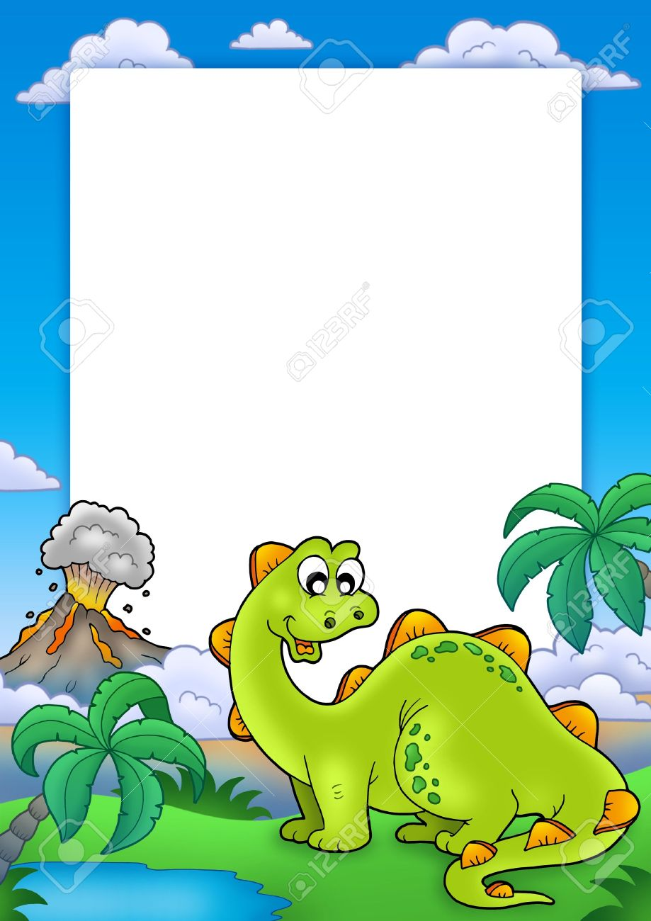 frame with cute dinosaur color illustration stock photo picture