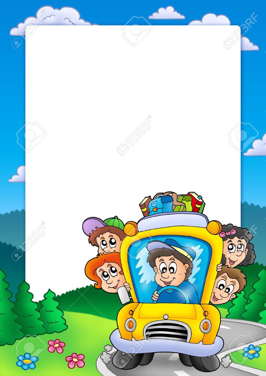 Marco Con Autobús Escolar - Ilustración De Color. Fotos, Retratos ...