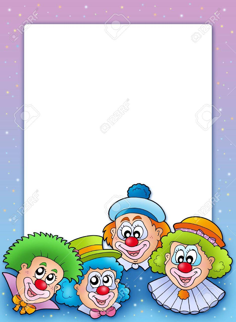 frame with various clowns color illustration stock photo