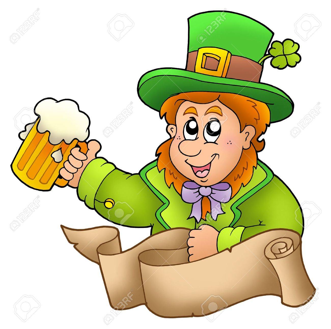 Banner with leprechaun holding beer - color illustration. Stock Illustration - 6520477
