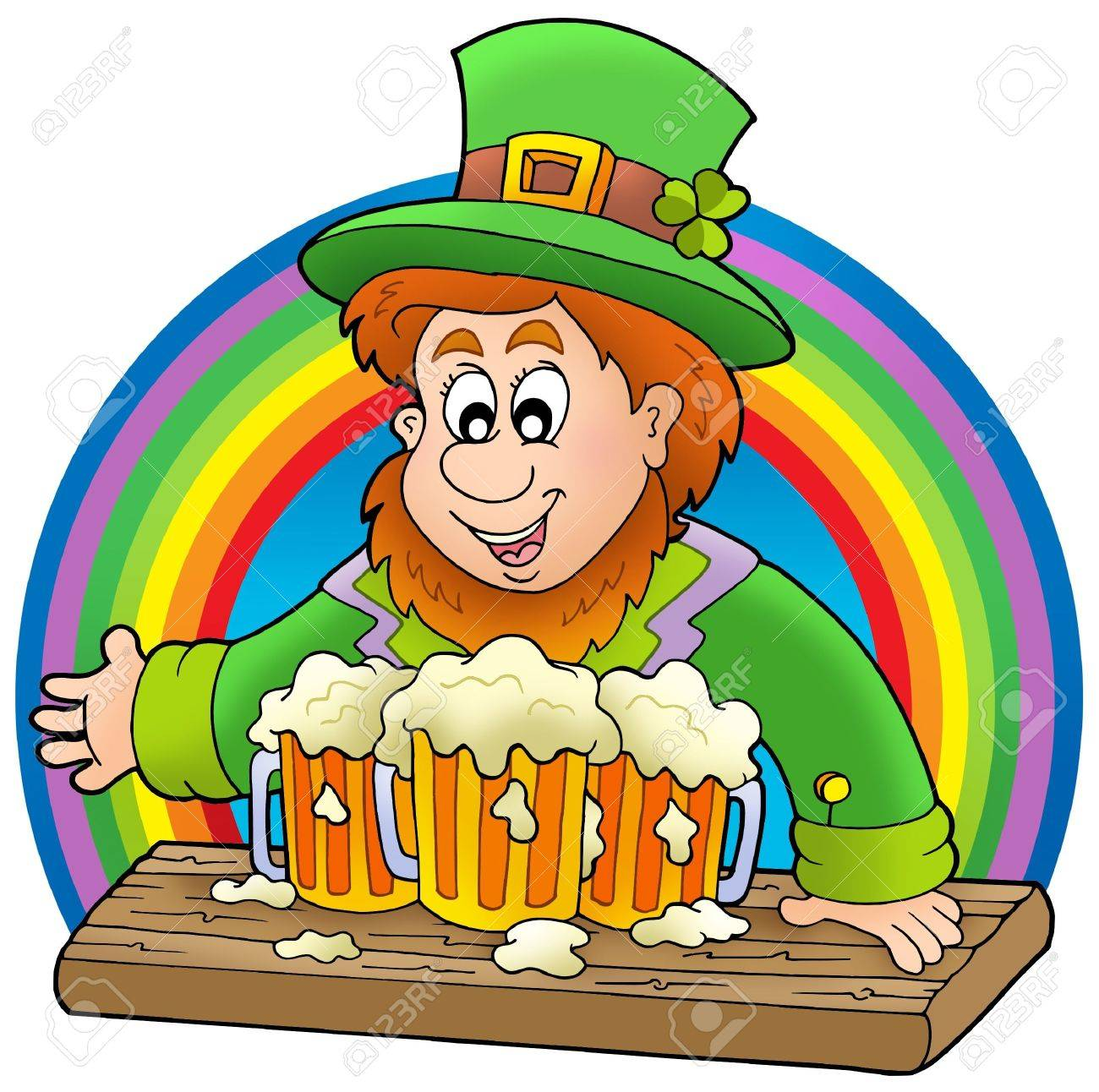 Uncategorized Leprechauns And Rainbows leprechaun with beers and rainbow color illustration stock 6520499