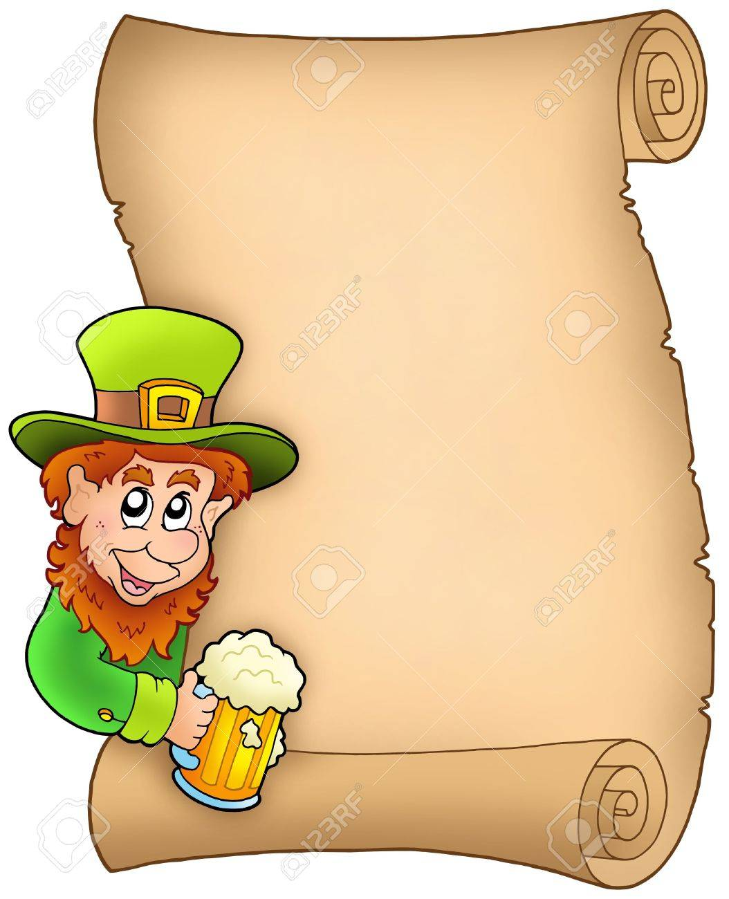 Parchment with leprechaun and beer - color illustration. Stock Illustration - 6520479