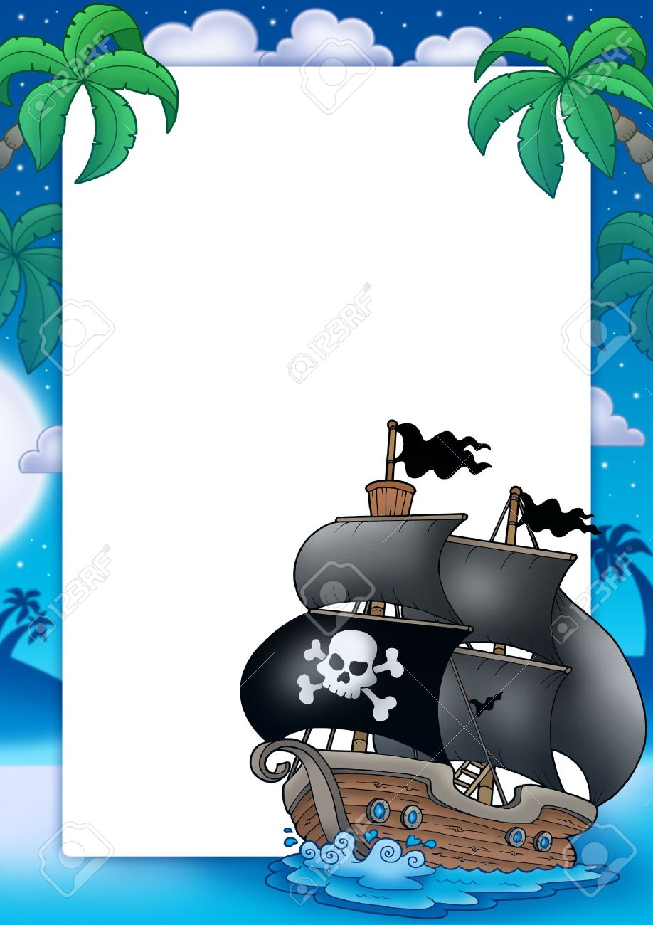 pirate frame with sailboat at night color illustration stock