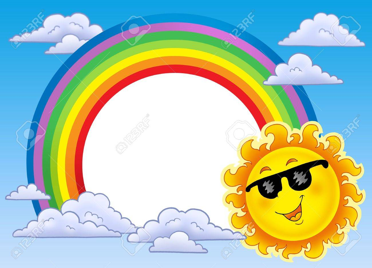Rainbow Frame With Sun In Sunglasses - Color Illustration. Stock ...