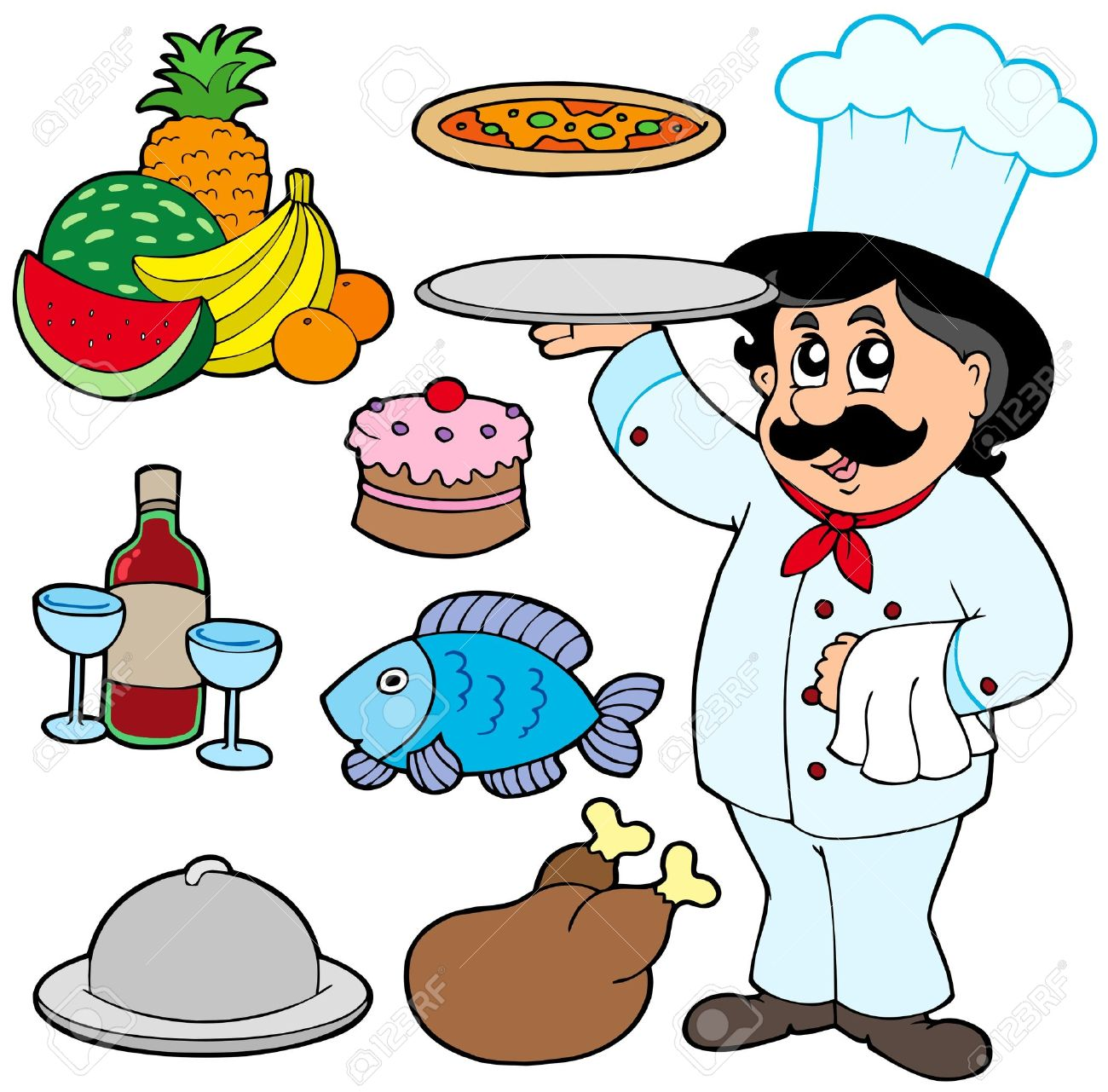 Cartoon chef with various meals Stock Vector - 6579485