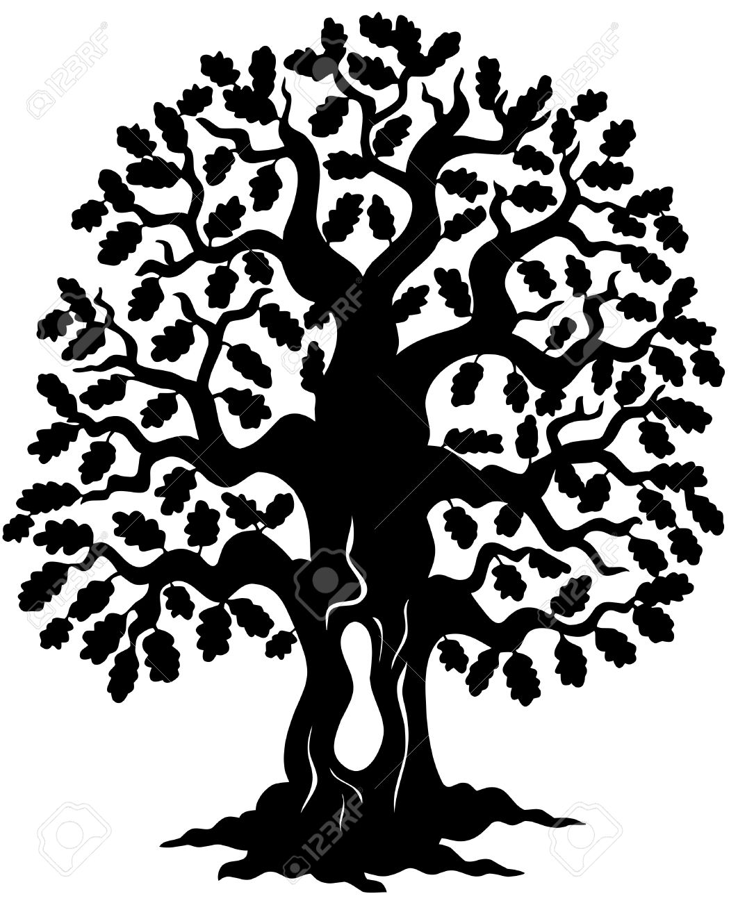 oak tree silhouette royalty free cliparts vectors and stock rh 123rf com