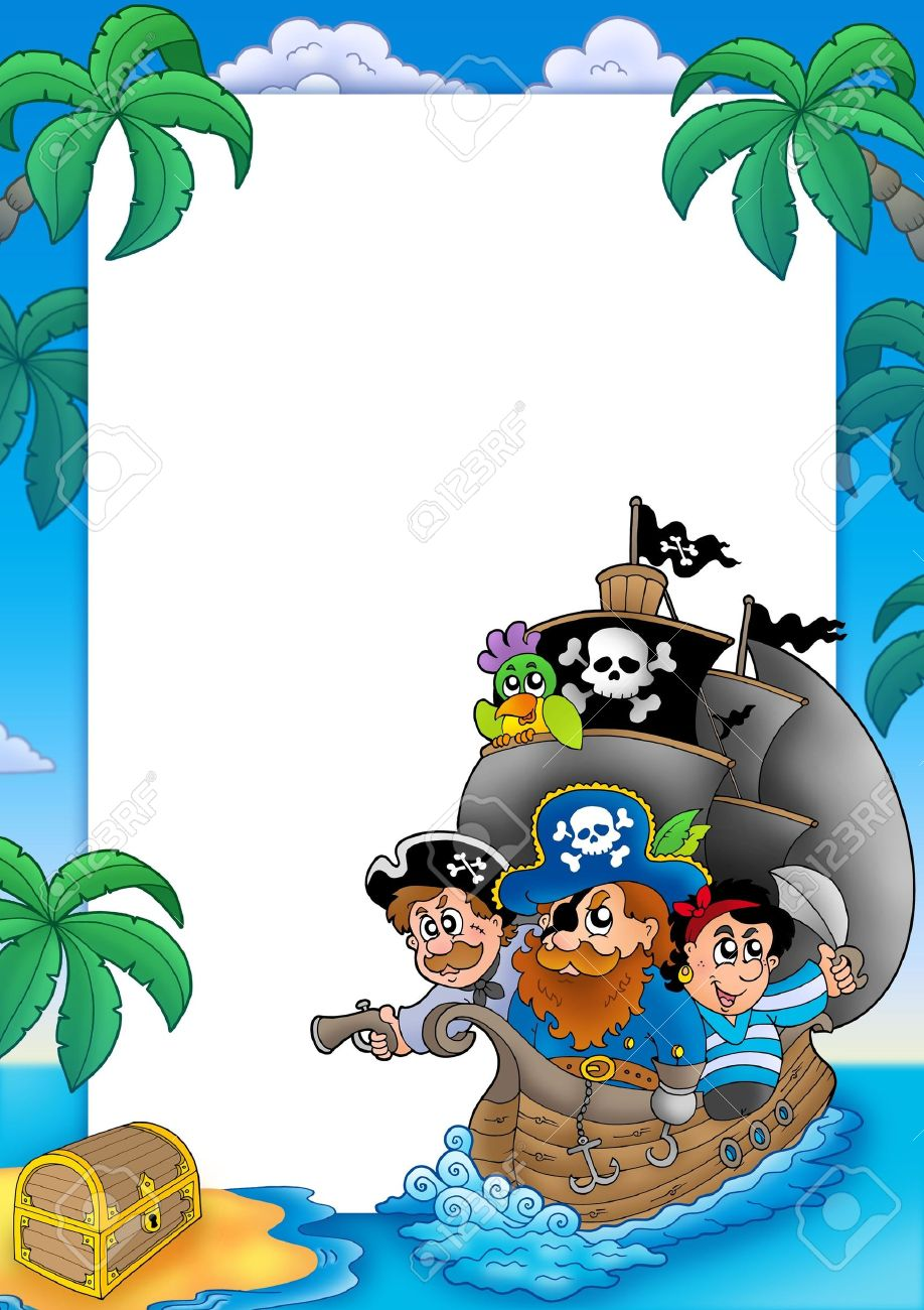 Frame with sailboat and pirates - color illustration. Stock Photo - 6579457