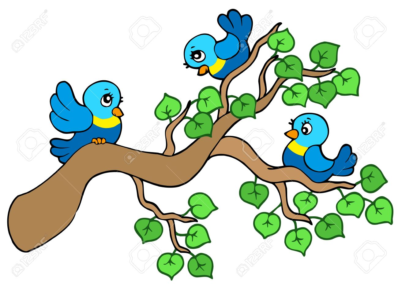 Three Small Birds Sitting On Branch Royalty Free Cliparts, Vectors ...