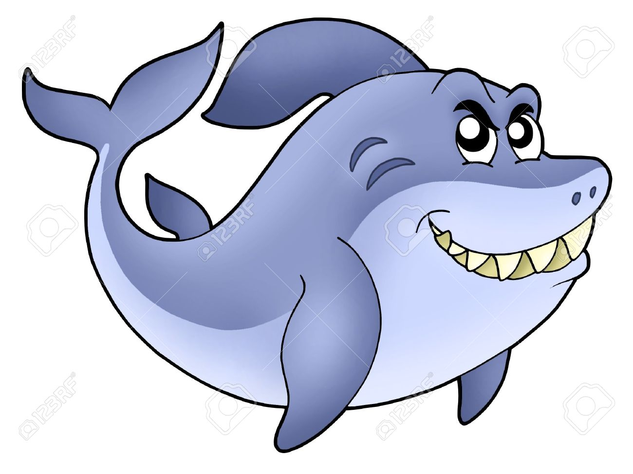 Big Cartoon Shark - Color Illustration. Stock Photo, Picture And ...