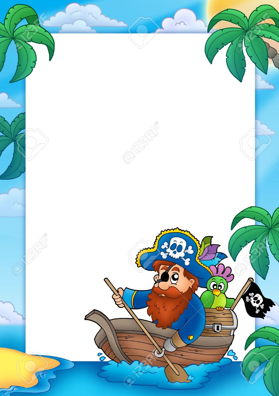 Marco Con Pirata Remando En Barco - Ilustración De Color. Fotos ...