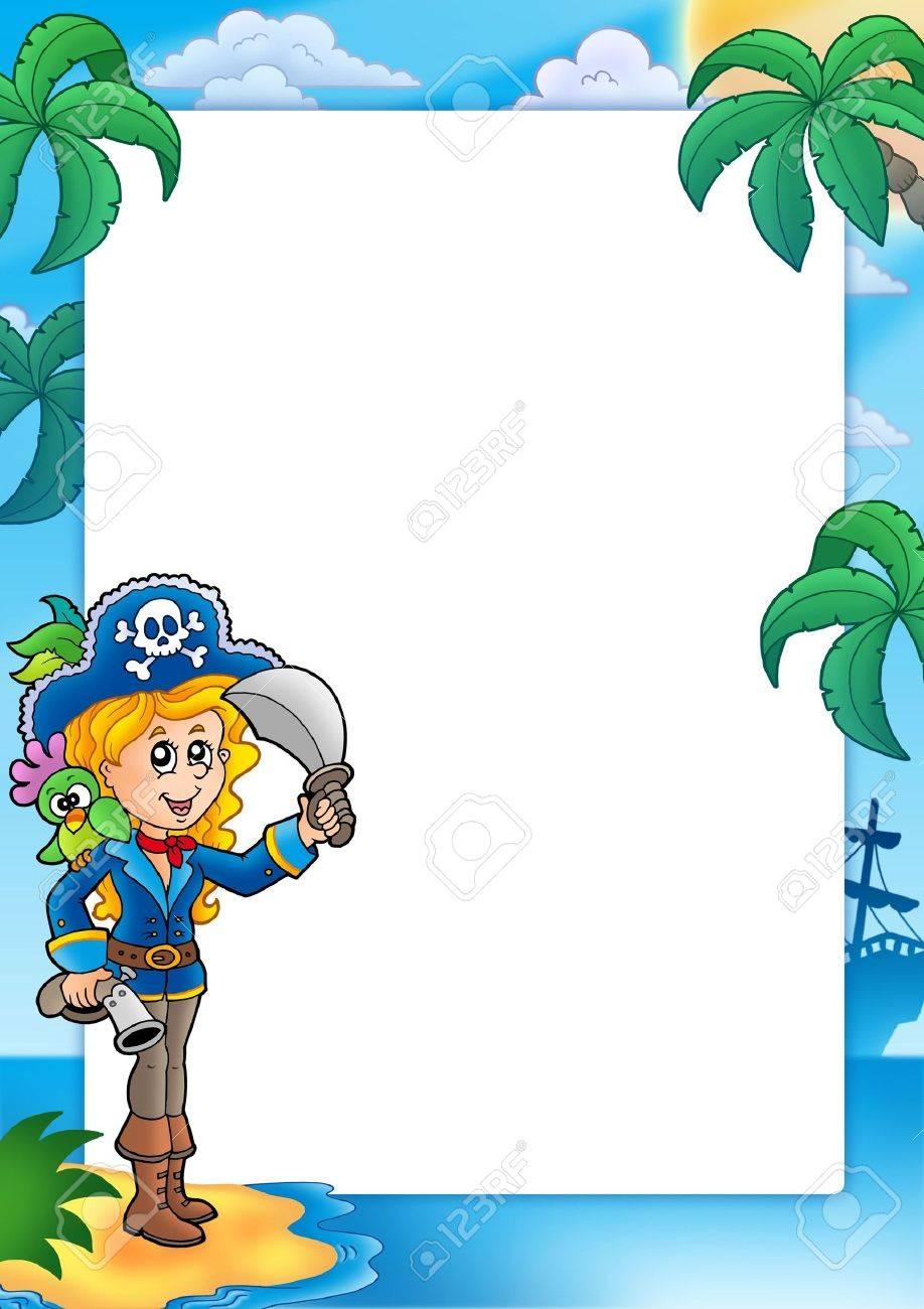 Marco Con Chica Bonita Pirata - Ilustración De Color. Fotos ...