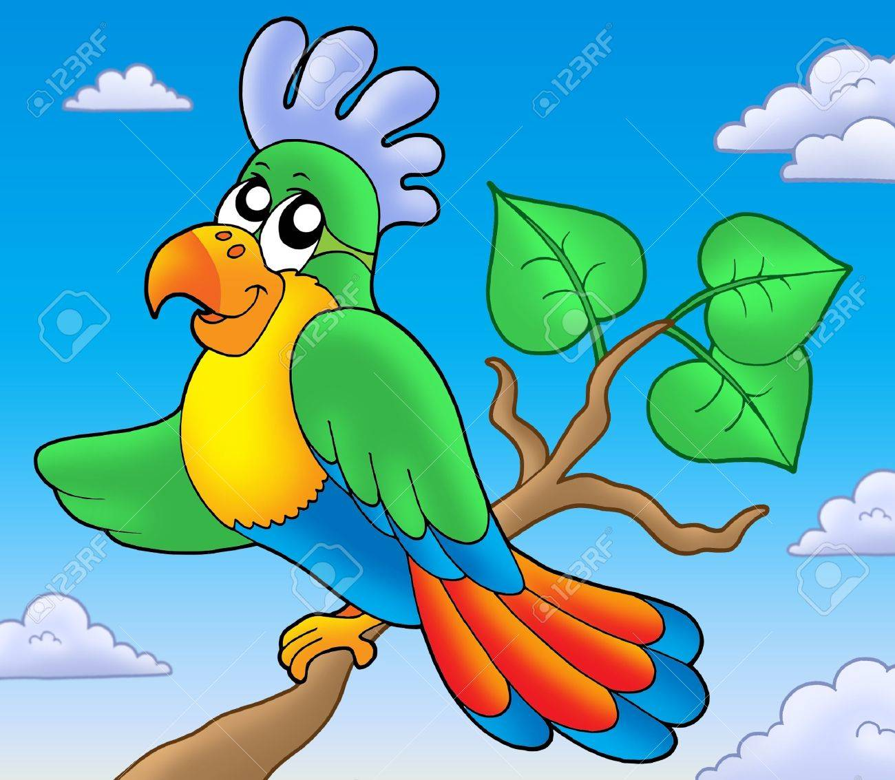 Cartoon parrot on branch - color illustration. Stock Photo - 6860808