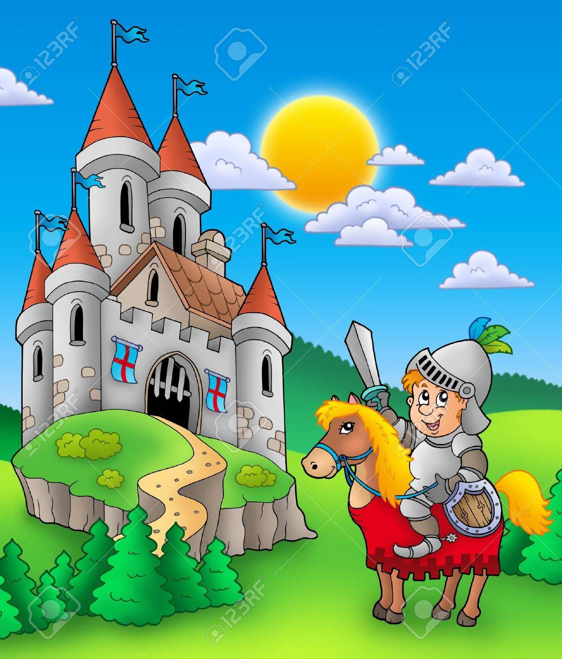 Knight on horse with castle - color illustration. Stock Illustration - 6860805