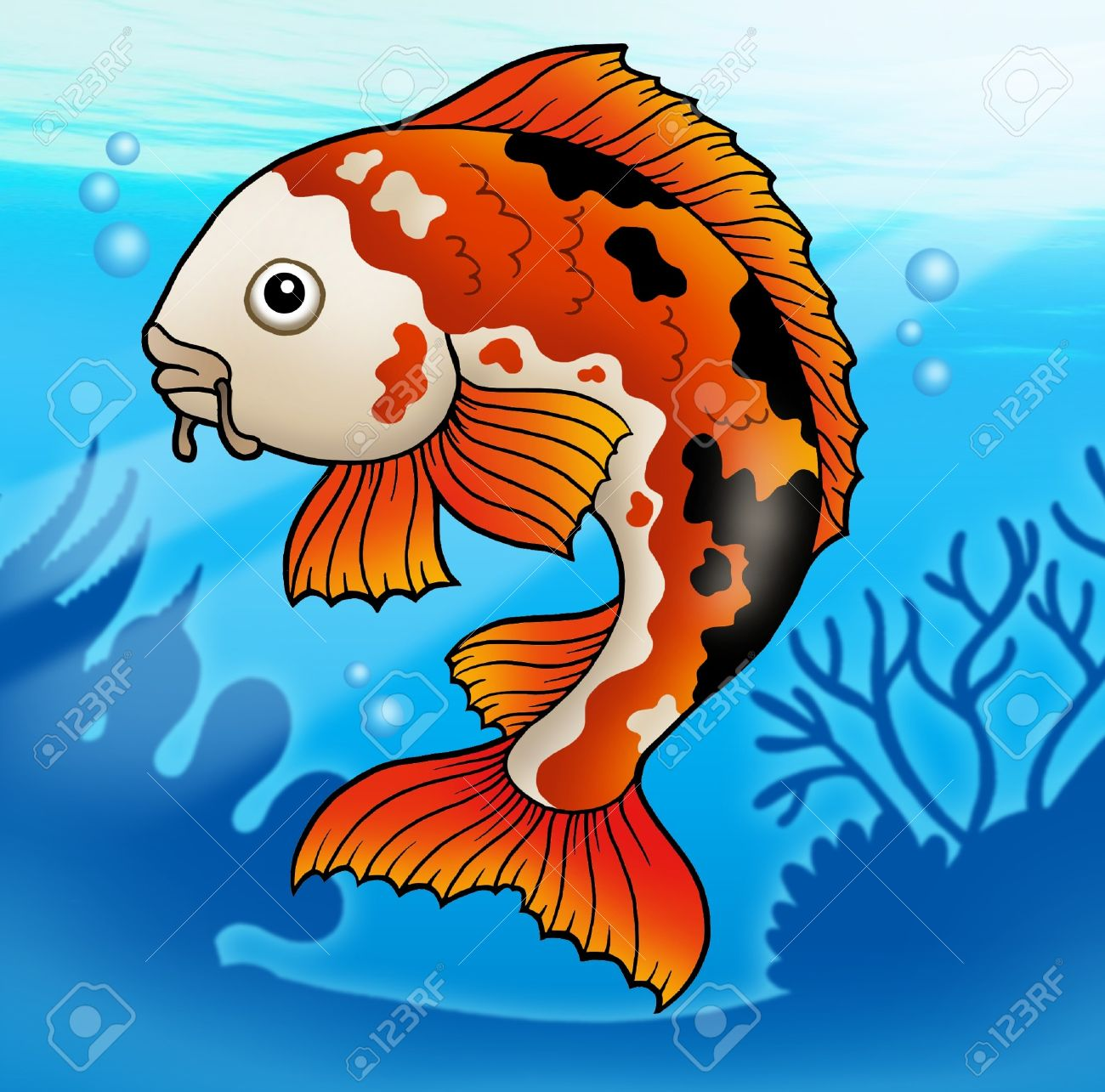 Red koi fish in water - color illustration.