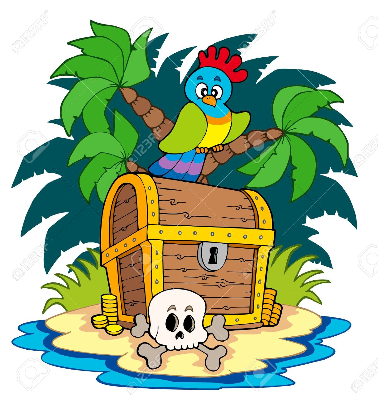 Pirate island with treasure chest Stock Vector - 7012024