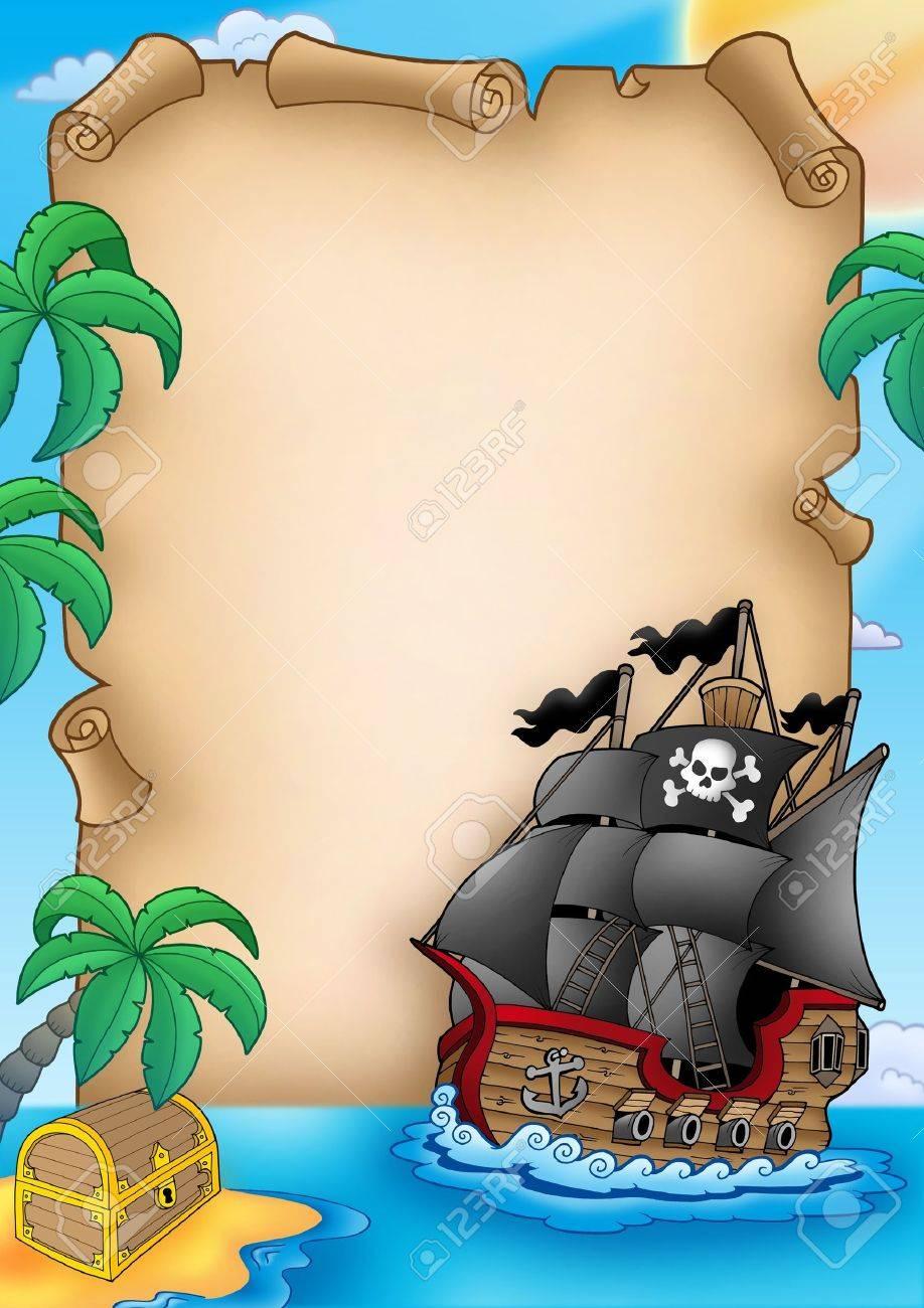 Pergamino Con Barco Pirata - Ilustración De Color. Fotos, Retratos ...