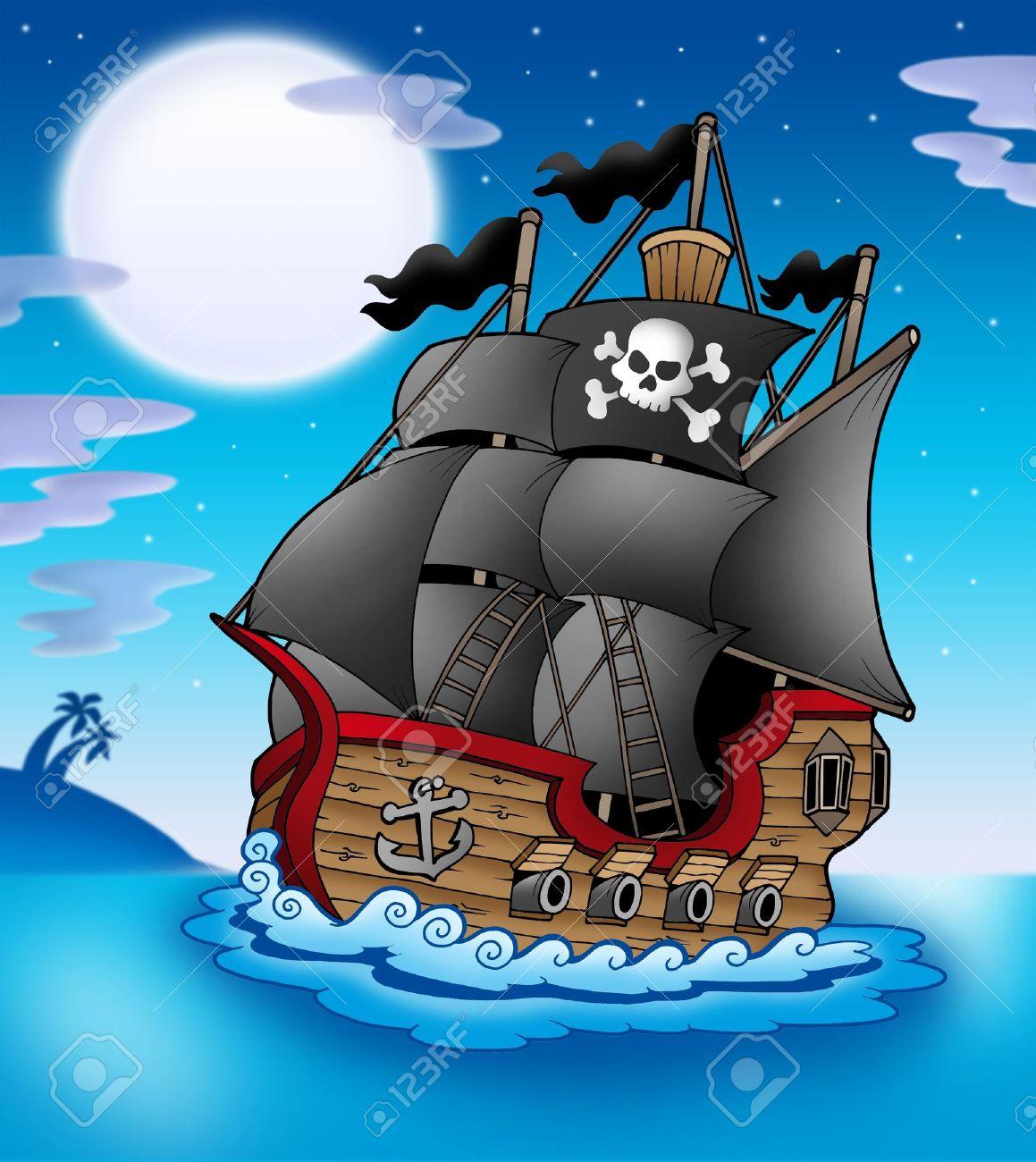 Barco Pirata En La Noche - Ilustración De Color. Fotos, Retratos ...