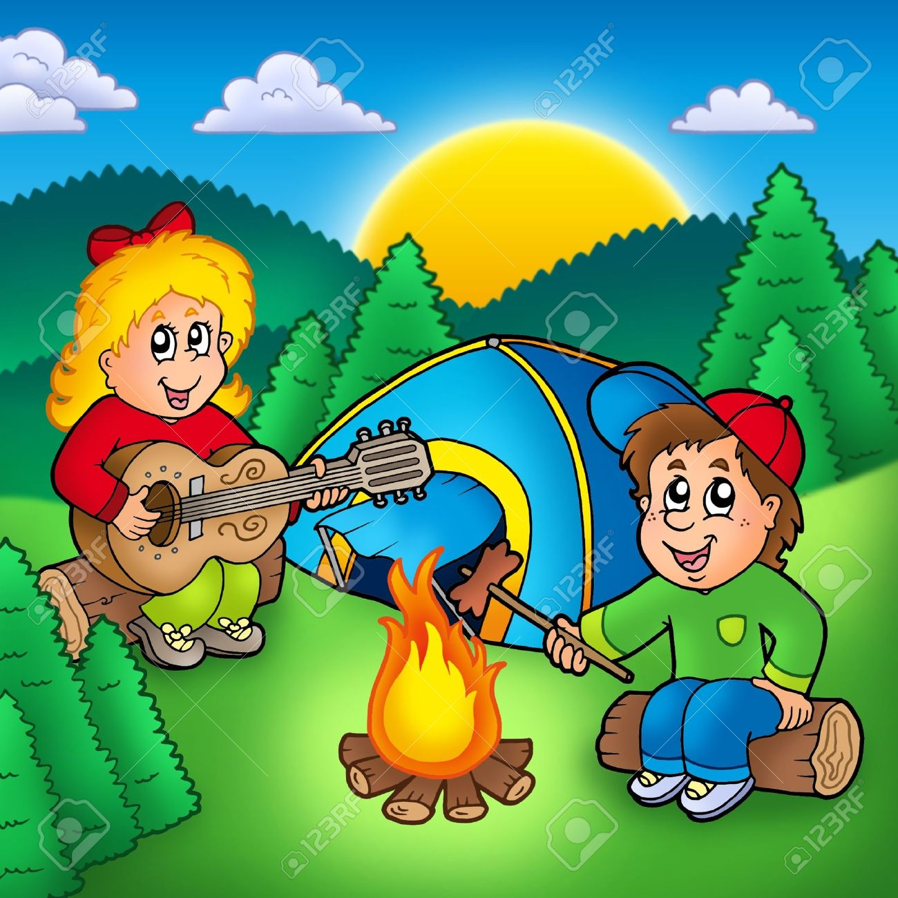 Two camping kids - color illustration. Stock Photo - 7012020