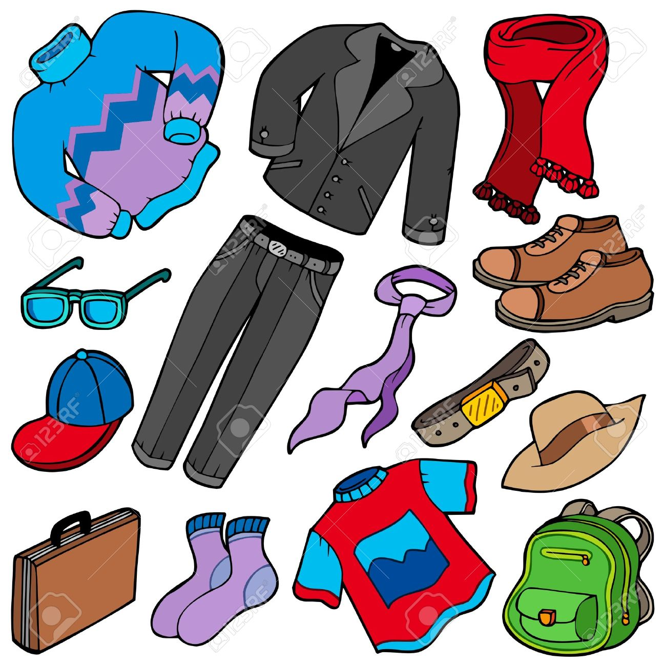 men apparel collection illustration royalty free cliparts
