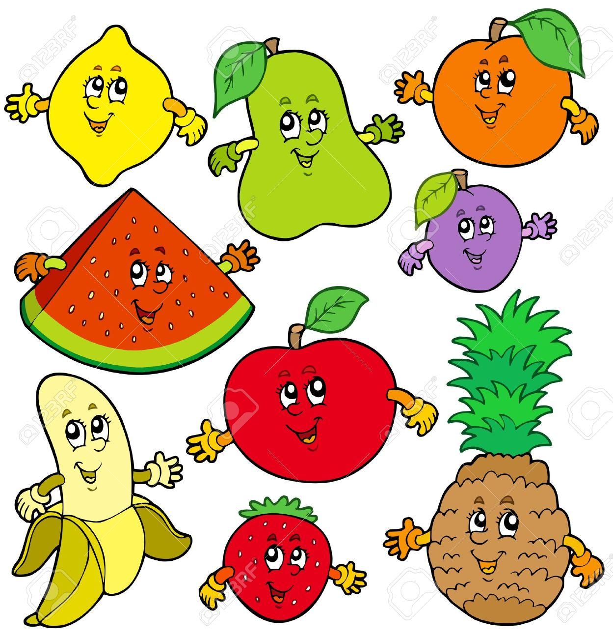 varios dibujos animados frutas ilustración ilustraciones