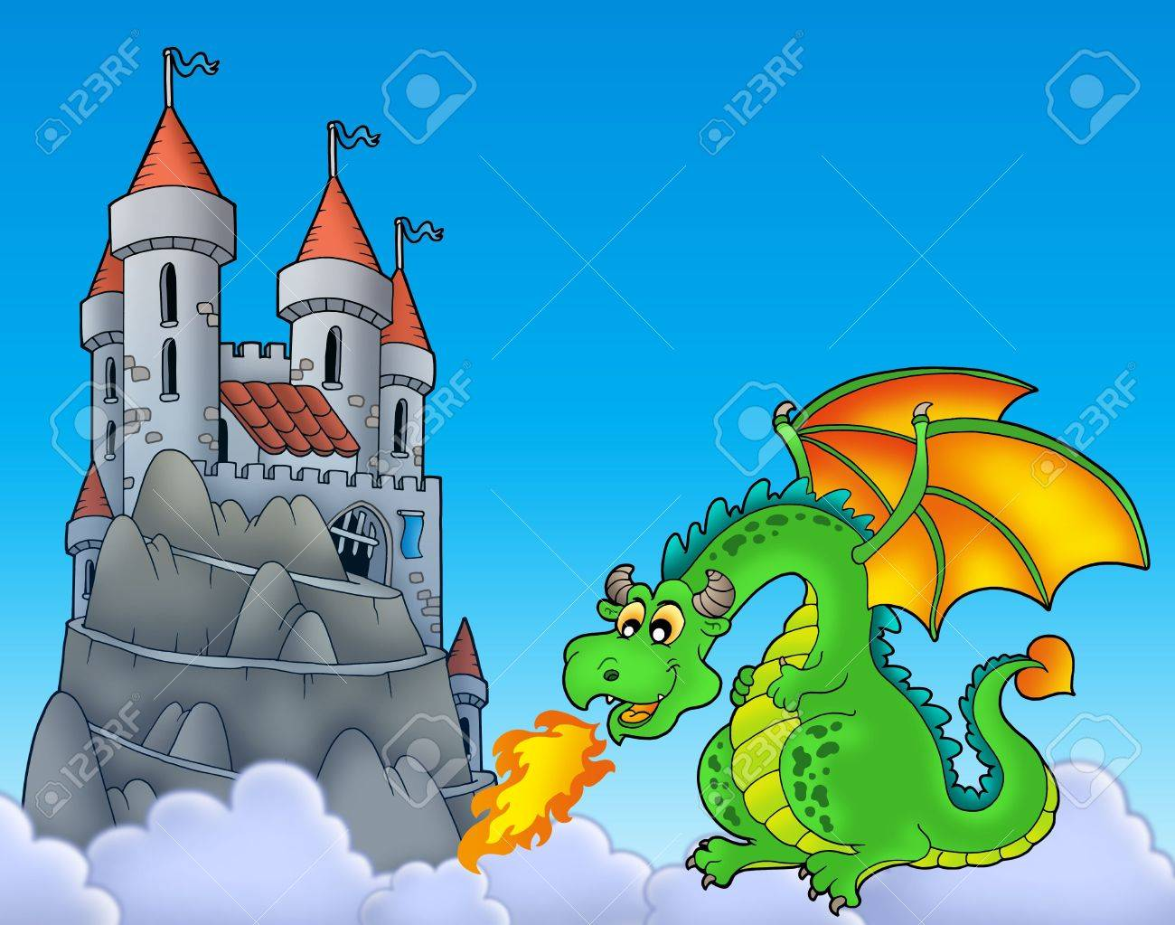 Green dragon with castle on hill - color illustration. Stock Illustration - 7077986