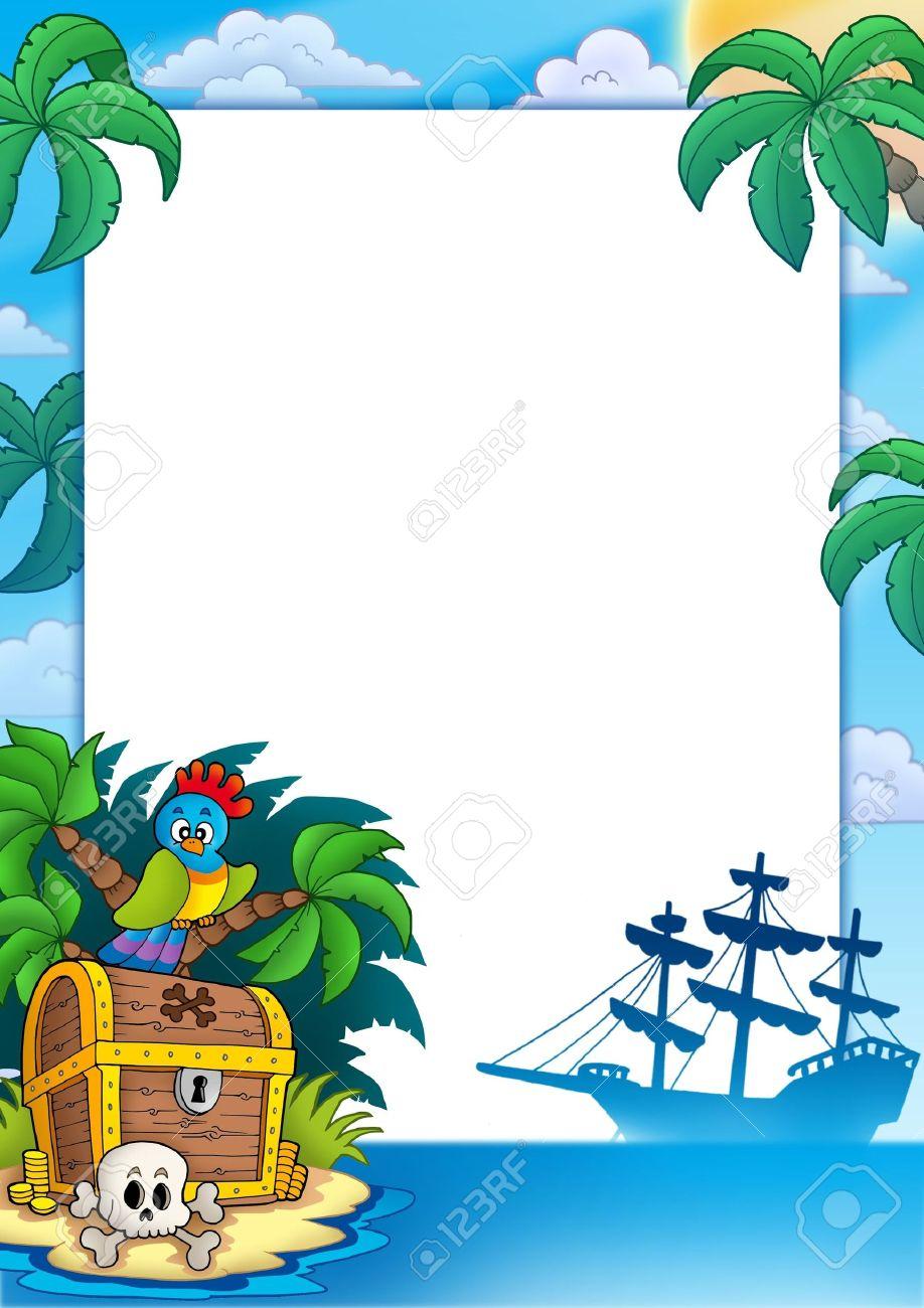 Marco De Pirata Con La Isla Del Tesoro - Ilustración De Color. Fotos ...