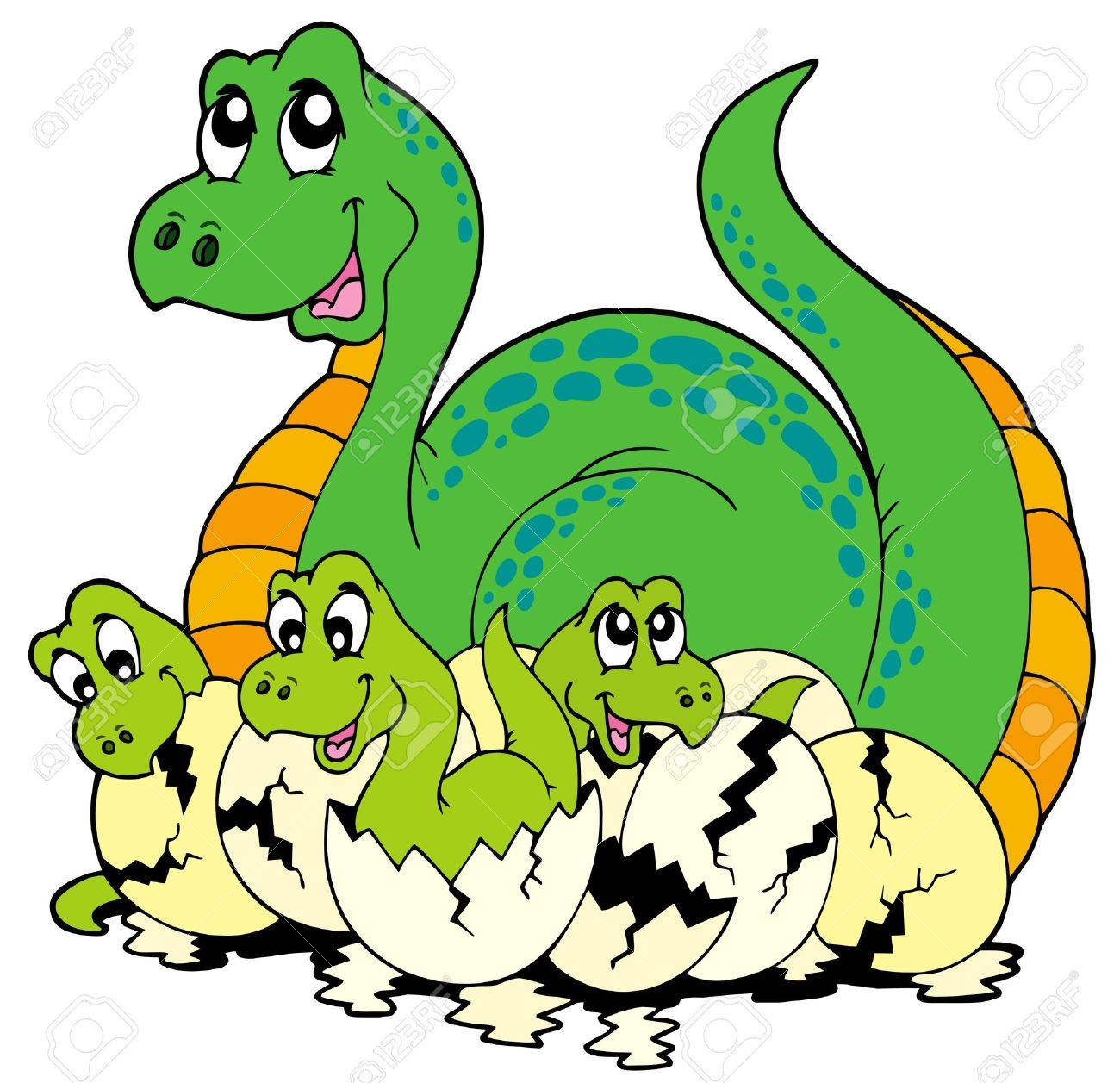 Dinosaur Mom With Cute Babies Royalty Free Cliparts Vectors And Stock Illustration Image 7150776