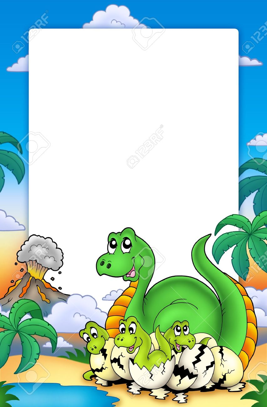 frame with little dinosaurs color illustration stock photo