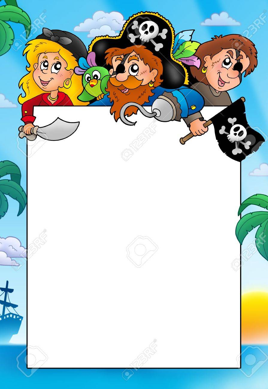 Frame with three cartoon pirates - color illustration. Stock Illustration - 7150737