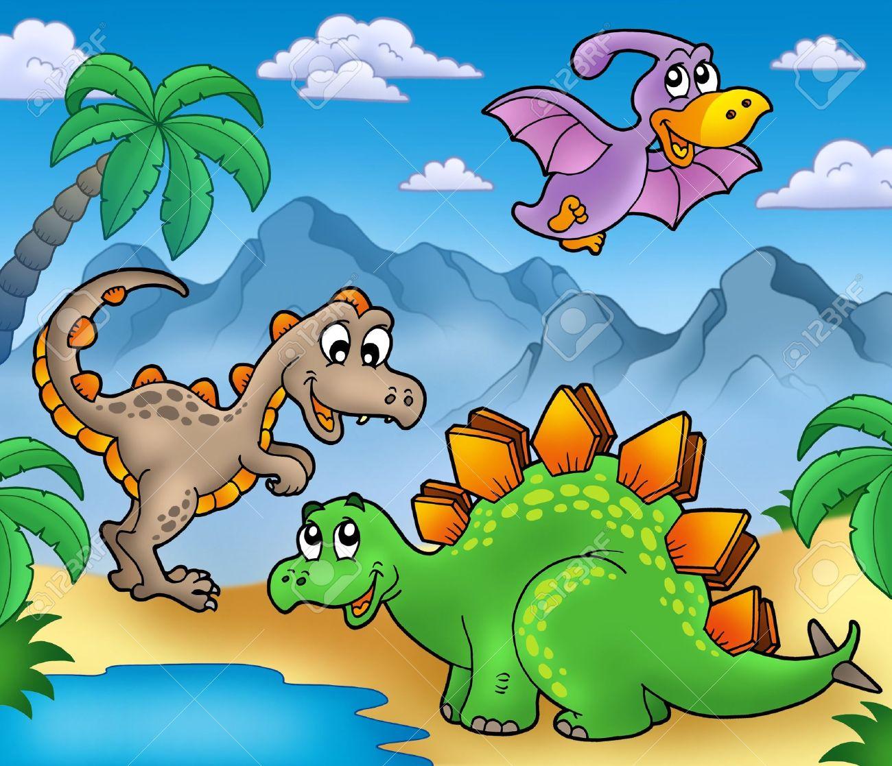 Paisaje Con Dinosaurios 2 - Ilustración De Color. Fotos, Retratos ...