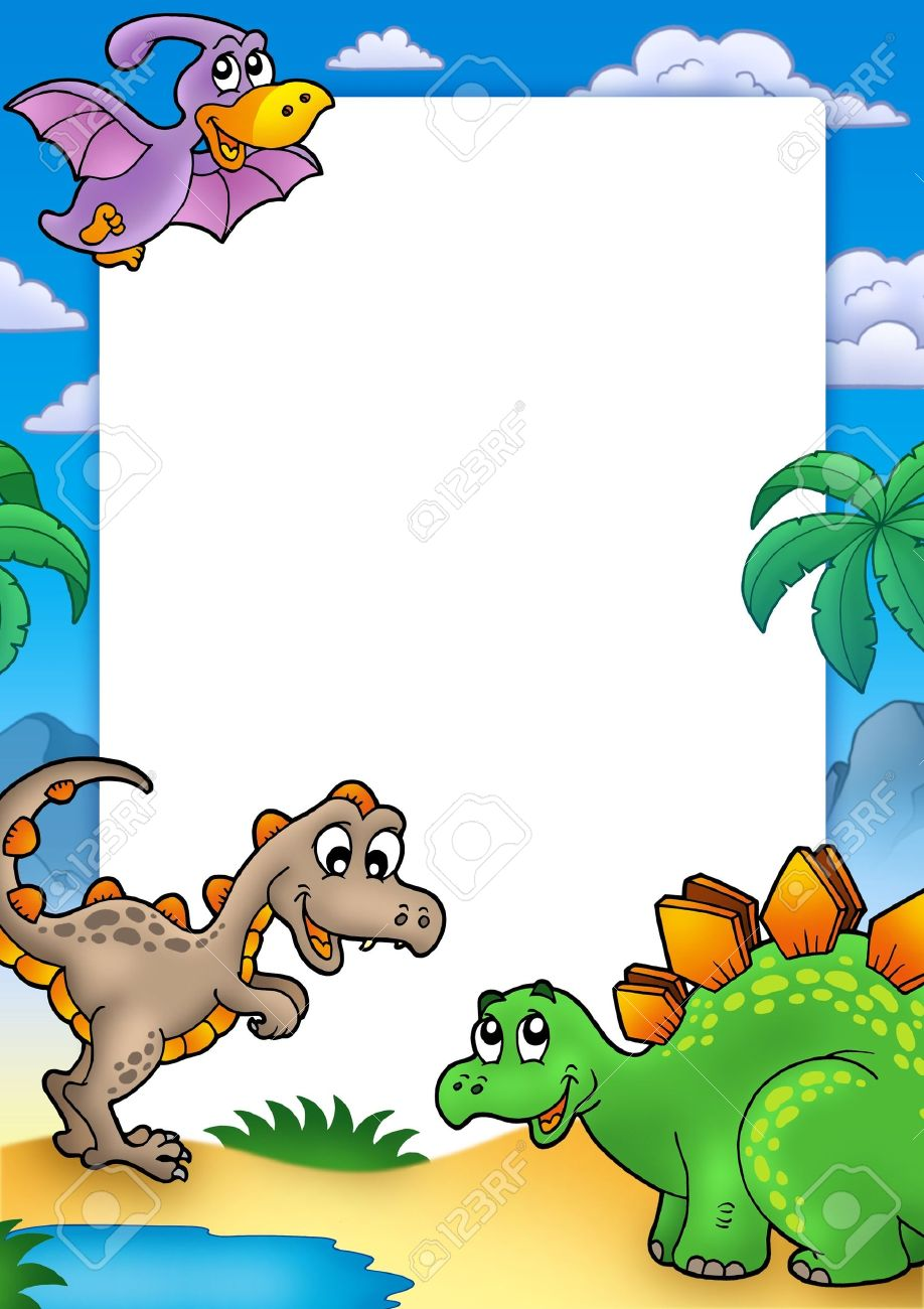prehistoric frame with dinosaurs color illustration stock photo