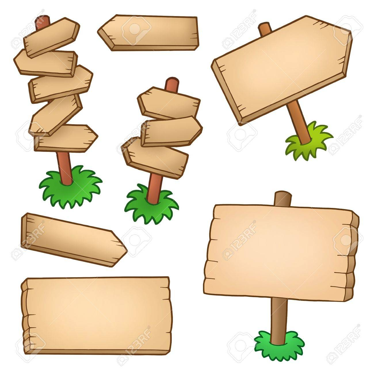 Various wooden panels collection - color illustration. Stock Illustration - 7150727
