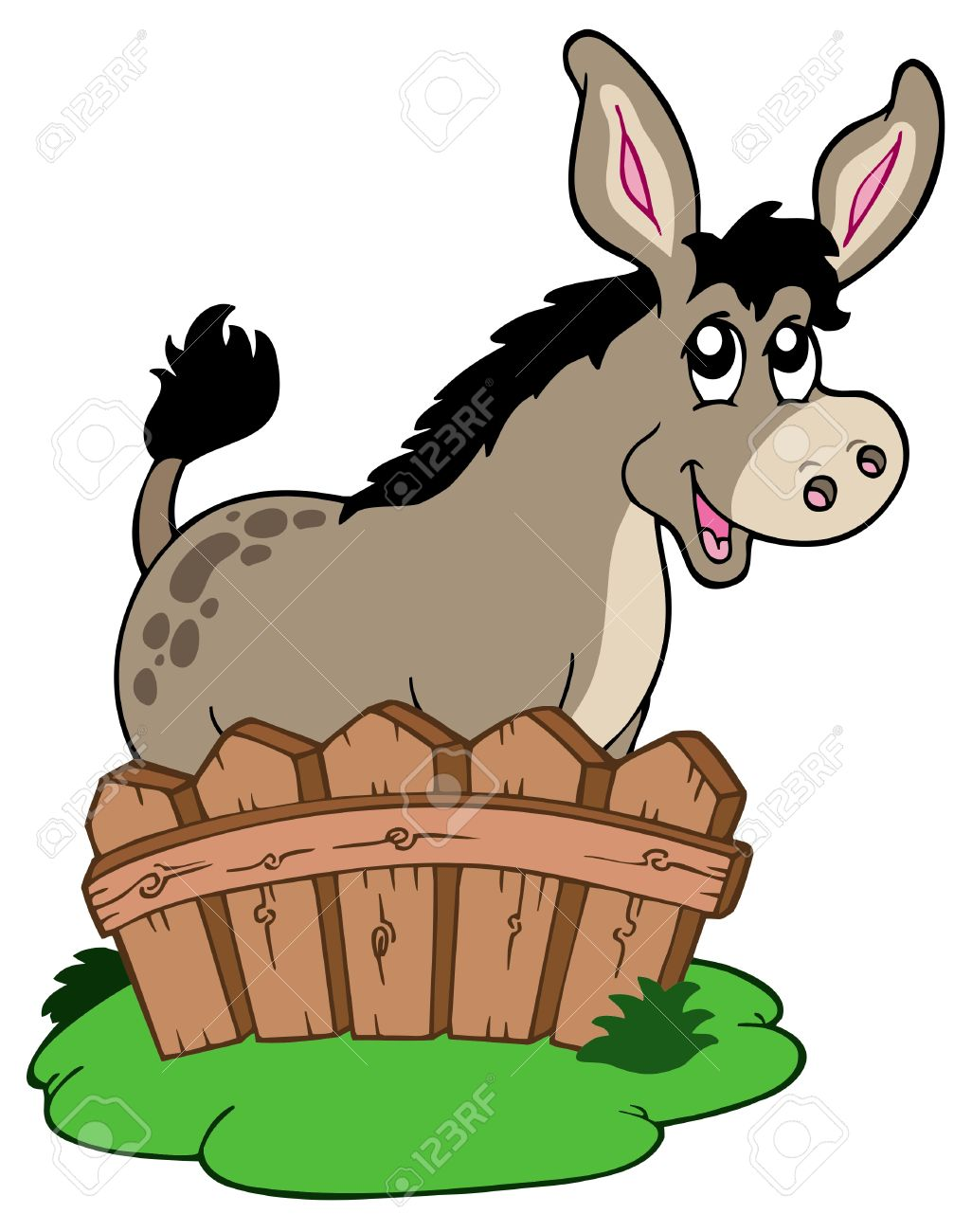 Cartoon Donkey Behind Fence - Vector Illustration. Royalty Free ...