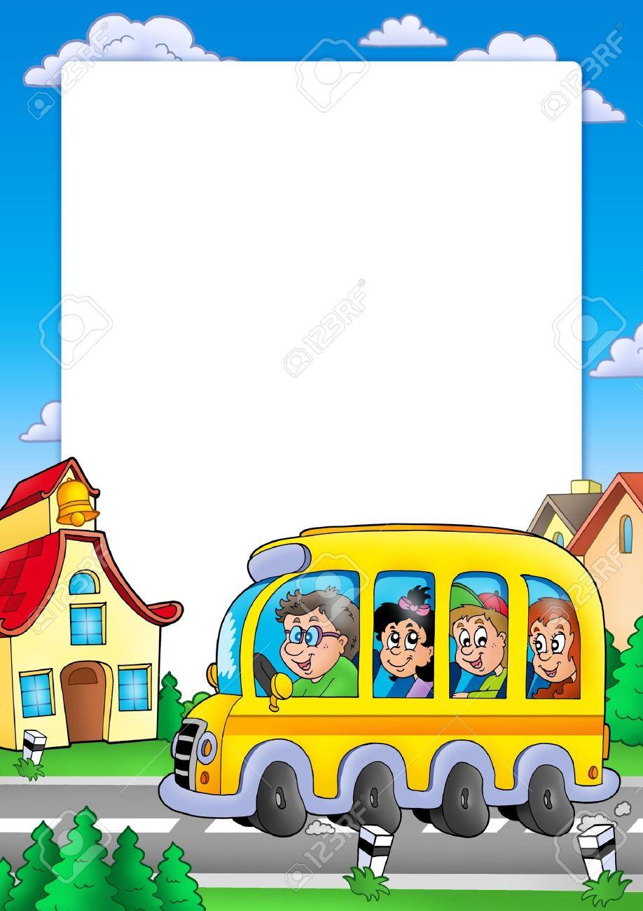 Marco De La Escuela Con Bus Y Niños - Ilustración De Color. Fotos ...